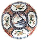 色絵花紋山水図なます皿