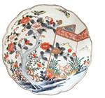 椿蝶柄色絵なます皿